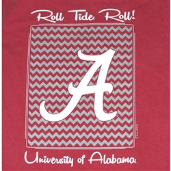 Alabama Crimson Tide Football T-Shirts - Chevron Pattern Around Script A - Color Crimson