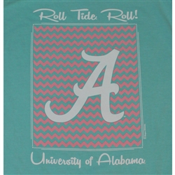 Alabama Crimson Tide Football T-Shirts - Chevron Pattern Around Script A - Color Mint