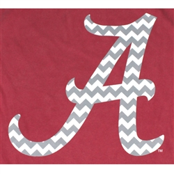 Alabama Crimson Tide Football T-Shirts - Chevron Pattern Inside Script A - Color Crimson