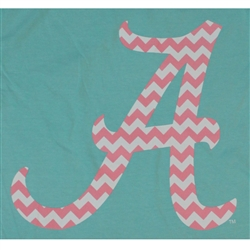Alabama Crimson Tide Football T-Shirts - Chevron Pattern Inside Script A - Color Mint