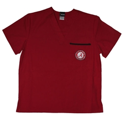 Alabama Crimson Tide Scrub Nurse Shirt - Crimson Color - Embroidered Logo