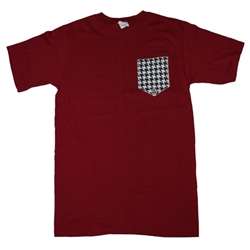 Girlie Girl Originals - Houndstooth Printed Pocket T-Shirt - Color Crimson