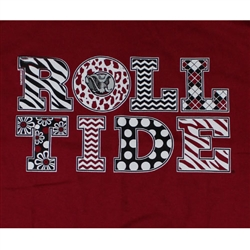 Alabama Crimson Tide T-Shirts - Polka Dots Roll Tide