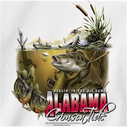 Alabama Crimson Tide Fishing T-Shirts - Reelin In The Big Game
