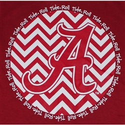 Alabama Crimson Tide Football T-Shirts - Chevron A Script Crimson Color T-Shirt