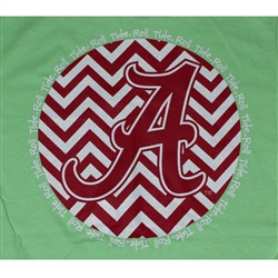 Alabama Crimson Tide Football T-Shirts - Chevron A Script Neon Green Color T-Shirt