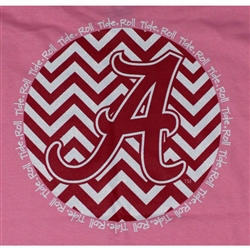 Alabama Crimson Tide Football T-Shirts - Chevron A Script Neon Pink Color T-Shirt