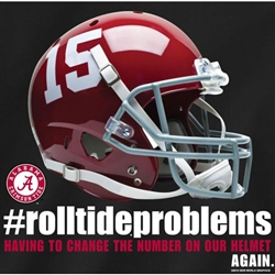 Alabama Crimson Tide Football T-Shirts - Roll Tide Problems - Helmet Number Change