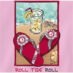 Alabama Crimson Tide Pink T-Shirts - Crimson Sandals On Beach - Roll Tide